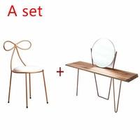 Nordic современный минималистский туалетный столик с табурета квартира твердая древесина Мини Принцессы кованого железа спальня простой сто
