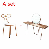 Nordic modern minimalist dressing table with stool apartment solid wood mini princess wrought iron bedroom simple makeup table
