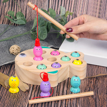 Fishing Toys For Girls Children's Game Wooden Magnetic Fishing Game Early Learning Educational Toys For Children Birthday Gift early educational toys wooden toys 32 piece set magnetic fishing game table game for children kids