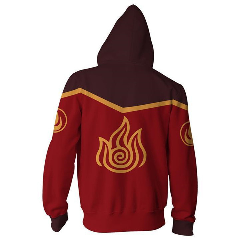 Men Women Avatar: Last Airbender Costumes Hoodies 3D Printing Cosplay Zipper Fashion Flame Sweatshirts Spring Autumn Jackets 1