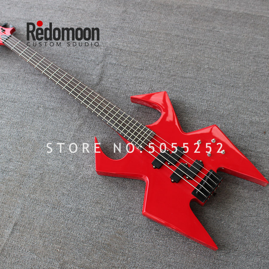 Factory custom BC rich 5 strings bass with black hardwares red color electric bass guitar musical instrument shop