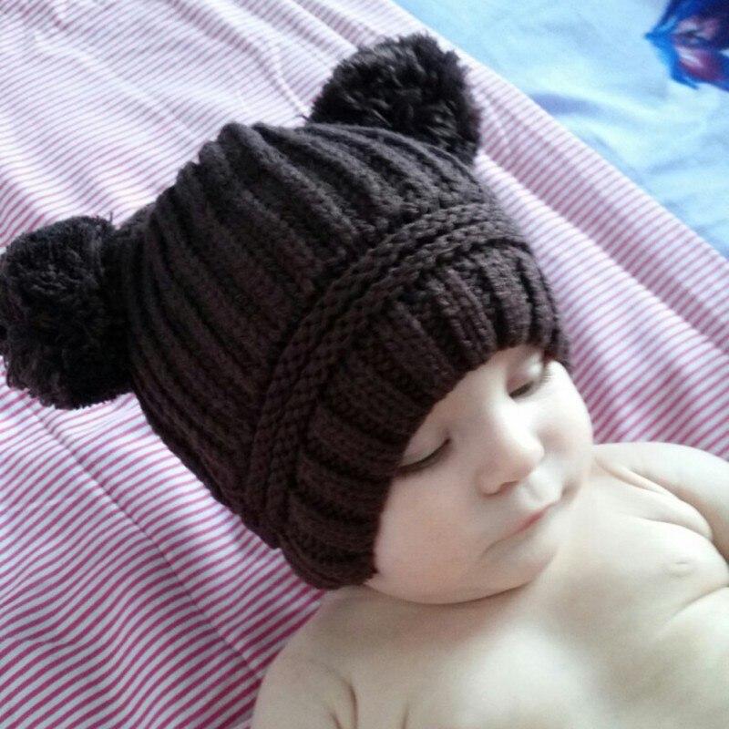 Winter Warm Cute Dual Ball Baby Caps Toddler Boys Girls Wool Crochet Knitted Beanie Hairball Ear Baby Hat Children Caps J2