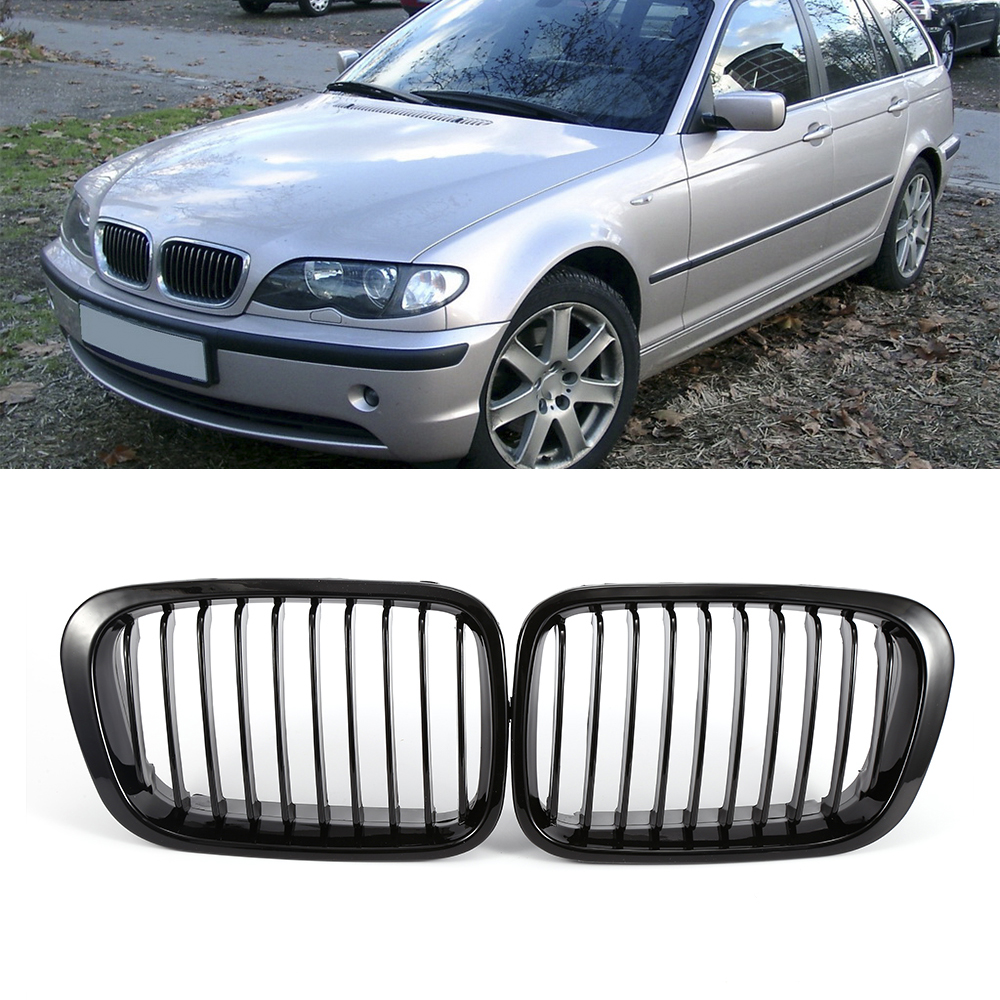 Car front bumper grill pair replacement front kidney grille grill glossy black for bmw e46 318i 320i 325i 330i 1998 2001