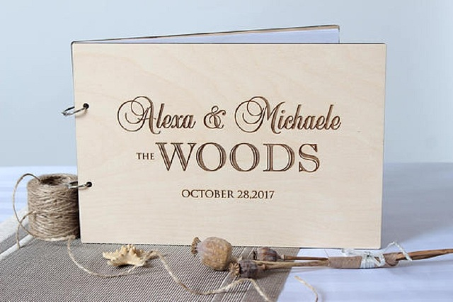 The Woods Personalized Coupleu0027s Name  Custom Wedding Guest Book Signature Book Rustic Photo Album Couple Gifts Wedding Decor & The Woods Personalized Coupleu0027s Name  Custom Wedding Guest Book ...