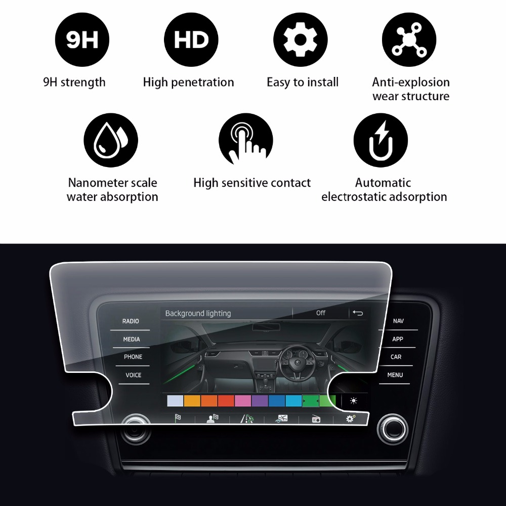 RUIYA screen protector for Skoda infotainment system Amundsen Octavia 8inch car navigation screen, 9H tempered glass benks tempered glass for xiaomi 5 2 5d radians screen protector