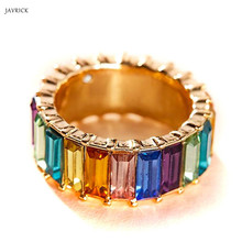 Rainbow Crystals Baguette Band Ring Stackable Eternity Cubic Zirconia