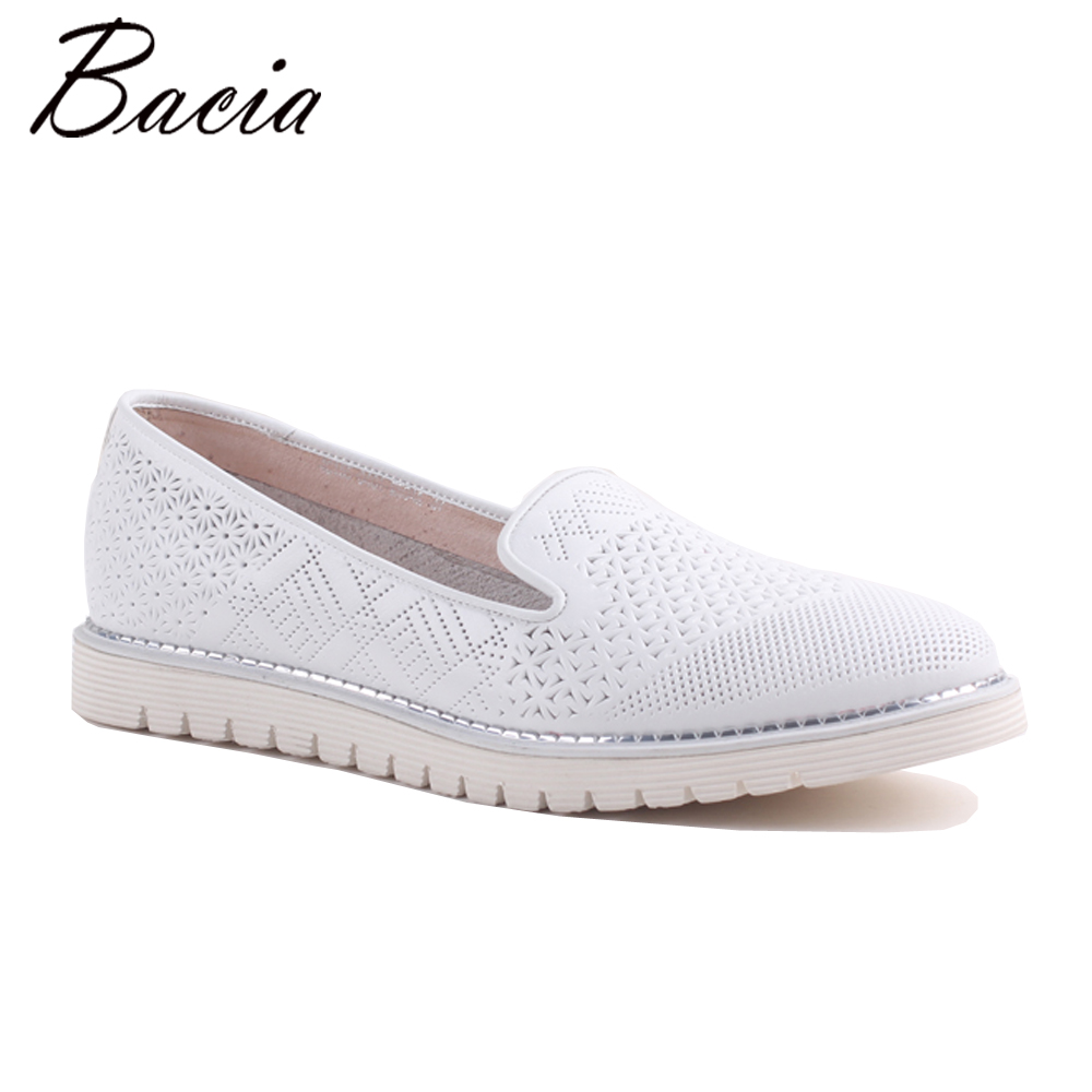 Bacia 2017 Fashion Genuine Leather Casual Loafers Shoes Flats with Hollow Out Women White Luxury Handmade Quality Shoes SA064 2017 fashion genuine leather casual loafers shoes women sandals summer shoes flats with hollow out size 35 44