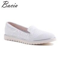 Bacia 2017 Mode Echtem Leder Lässig Faulenzer Schuhe Wohnungen mit Aushöhlen Frauen Weiß Luxus Handgemachte Qualität Schuhe SA064