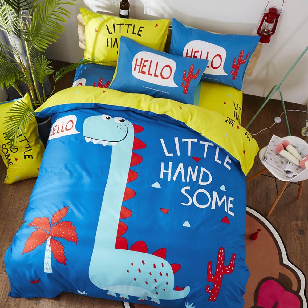 Svetanya 恐竜シーツ枕布団カバーセット綿 100% 漫画のリネンシングル、ダブル、クイーンサイズの子供の寝具セット  グループ上の ホーム&ガーデン からの 寝具セット の中 2