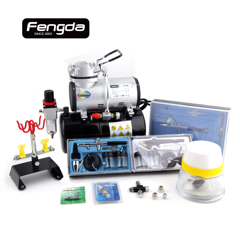 Fengda airbrush mini compresseur d'air sans huile pompe corps peinture de tatouage gâteau décorer double action pistolet