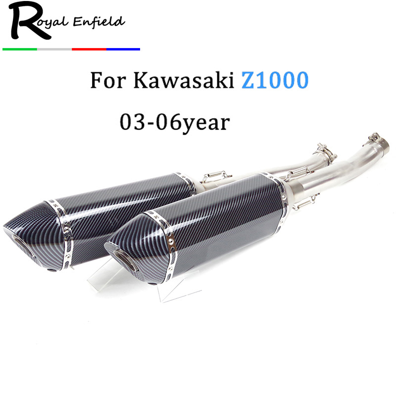 For kawasaki z1000 2003 2004 2005 2006 Motorcycle Motorbike Middle Exhaust Middle Mid Link Pipe Connector escape with db killer