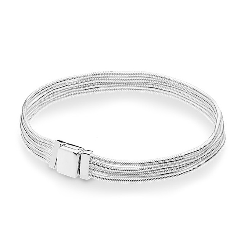Marfend 2019 New 100% 925 Sterling Silver Reflexions Bracelet Fit European Charm Beads Multi Snake Chain Bracelet DIY JewelryMarfend 2019 New 100% 925 Sterling Silver Reflexions Bracelet Fit European Charm Beads Multi Snake Chain Bracelet DIY Jewelry