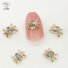LEAMX 10pcs Alloy Spider Nail Art Decorations 3D AB/White Rhinestone Adornment Jewelry Sparkling Supplies L459