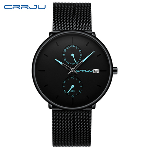 Image 2 - CRRJU 2019 Mode Kleid Männer Uhr Business Einfache Quarz Uhren Herren Schwarz Mesh Wasserdicht Casual Armbanduhr für Mann Uhr