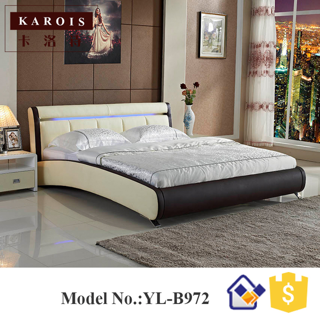 Maharaja LED Bedroom Set Furniture White Luxury LED Faux Leather Bed,china Bedroom  Furniture