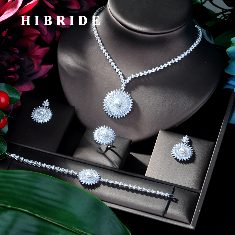 HIBRIDE New Arrival Bridal Jewelry 4pcs Set Round Shape Bridal Set for Women Wedding Party African