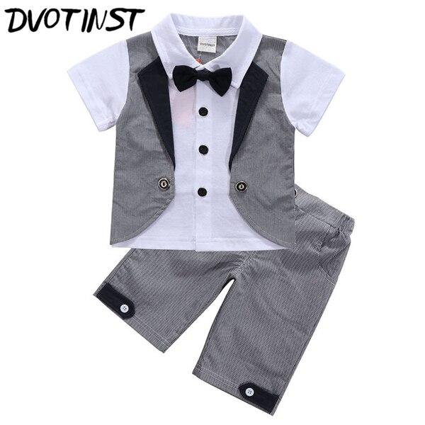 Dvotinst Baby Boys Clothes Summer Short Sleeves Gentleman Formal Grey Suit 2pcs Set Outfit Infant Toddler Wedding Event Costume