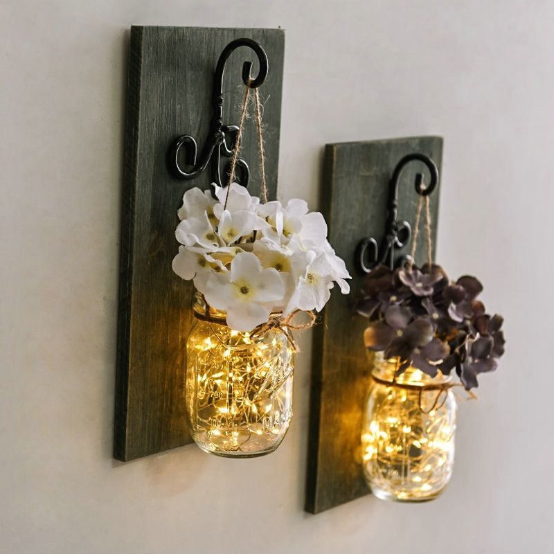 Rustic Mason Jar Wall Light LED Fairy Lights Flower Wall Sconces Remote Control Dimmable Wall Lamp Cafe Bar Bedroom Decoration