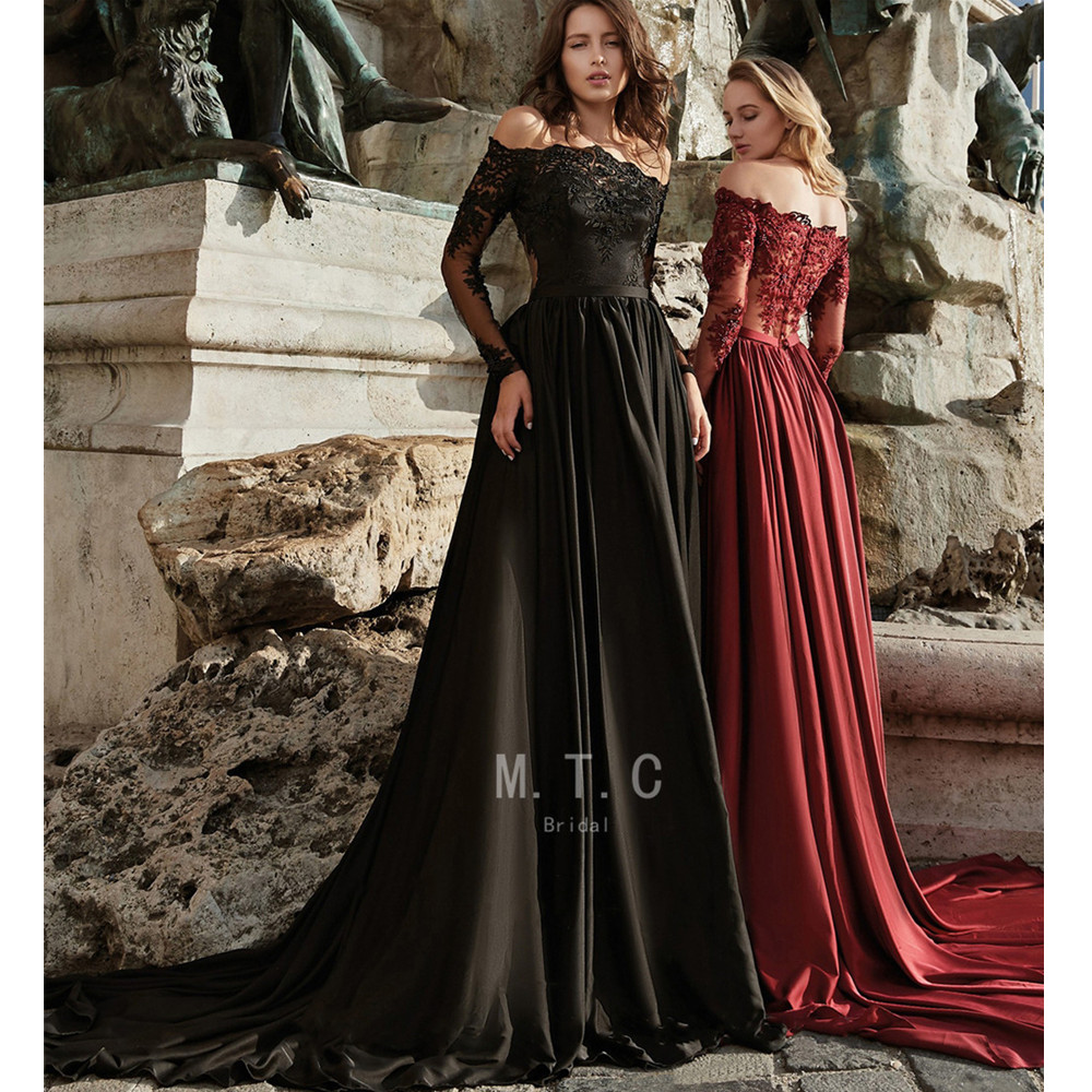 Élégant à manches longues noir robes de bal hors de l'épaule perlée Appliques balayage Train longue formelle Occasion robe sur mesure