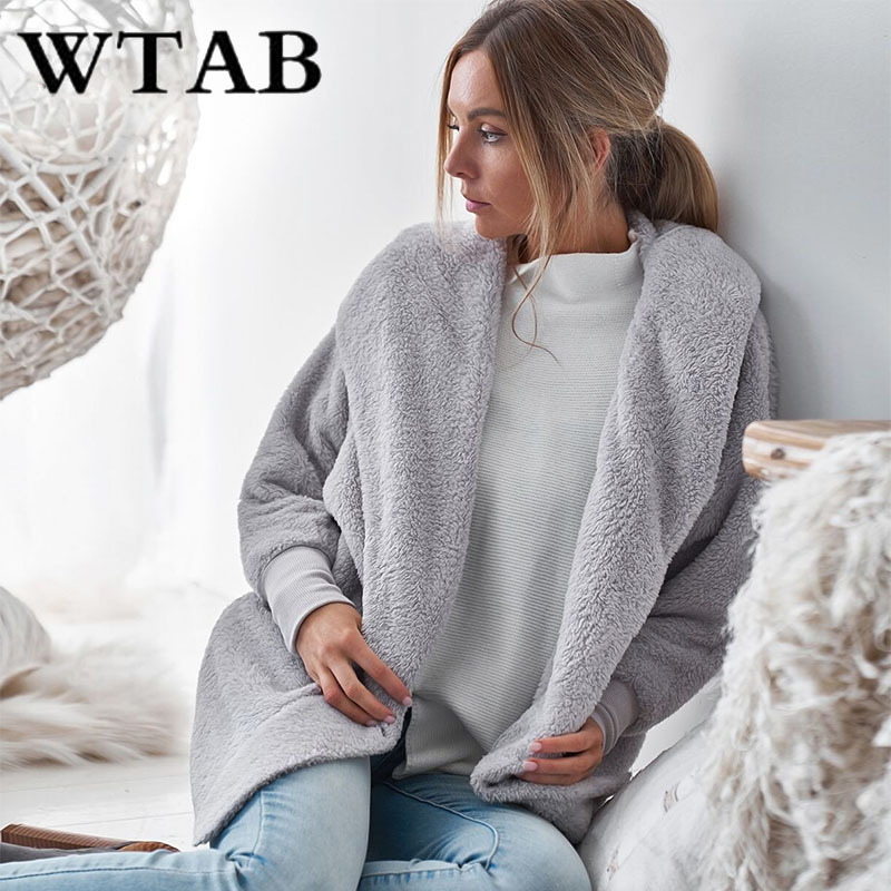WTAB Women's Hooded   Jackets   2018 harajuku autumn winter   jacket   Causal Outwear Women loose   Basic     Jackets   plush Coats veste femme