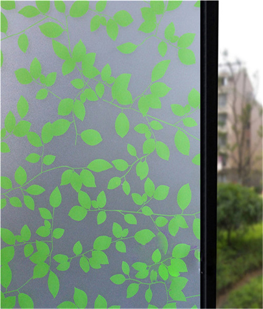 Decorative Stained Glass Window Film Home Decor Static Self Adhesive Sticker Green White Leaves ST0010 Wide 90CM In Films From