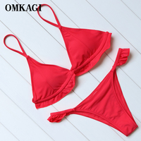 OMKAGI Brand Swimsuit Swimwear Women Solid Bikinis Set Swimming Bathing Suit Beachwear Sexy Push Up Micro
