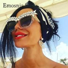 Emosnia мода diamond кошачий глаз Солнцезащитные очки 2017, женская обувь роскошные брендовые себе ювелирные изделия Защита от солнца очки украшения Винтаж оттенки Gafas
