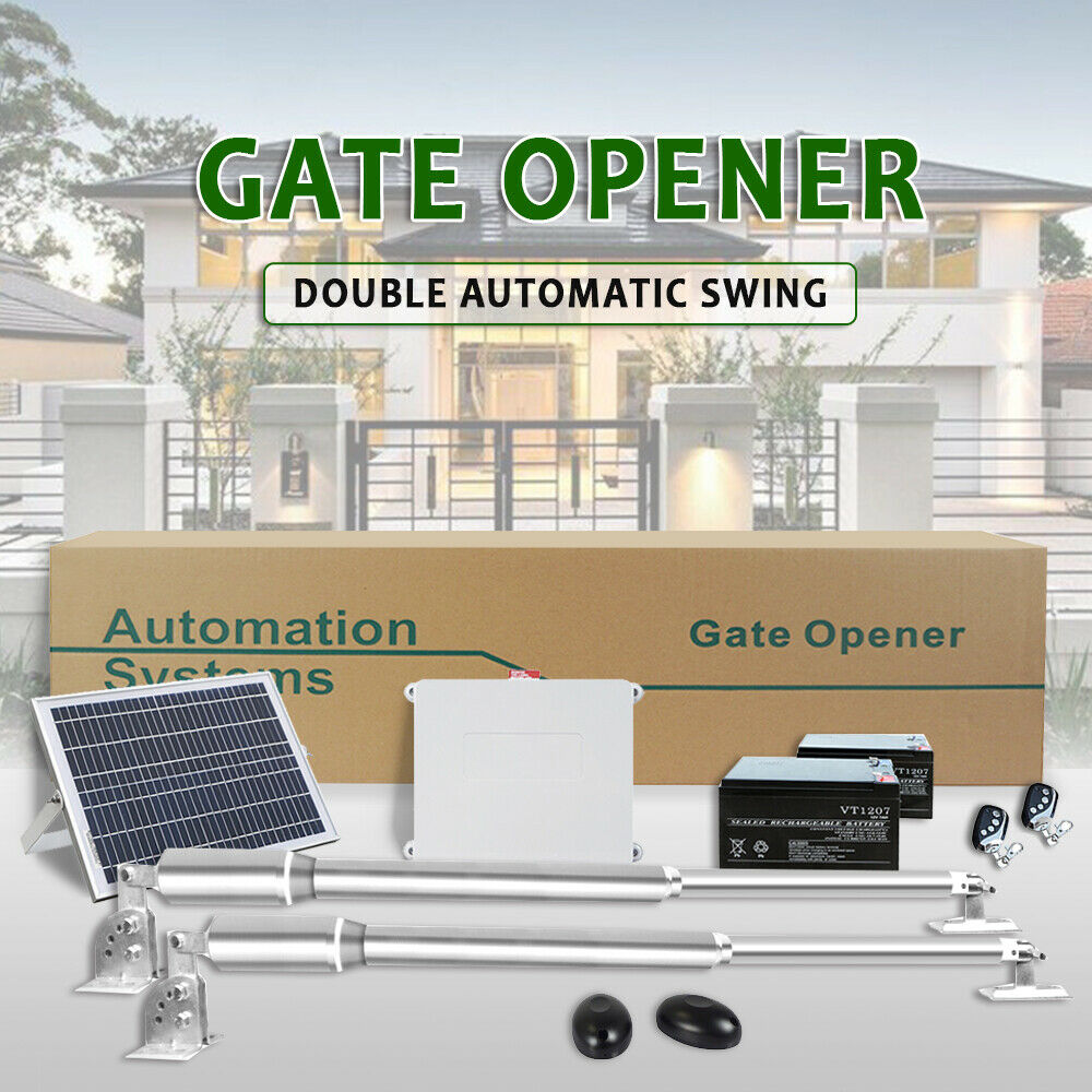 Double Arm Swing Automatic Gate Opener Kit 600KG Solar Powered Battery IP66 2.5M