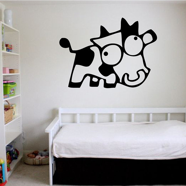 On Sale New Crazy Cow Giant Wall Art Children Sticker Murals Decals WA271  Animals