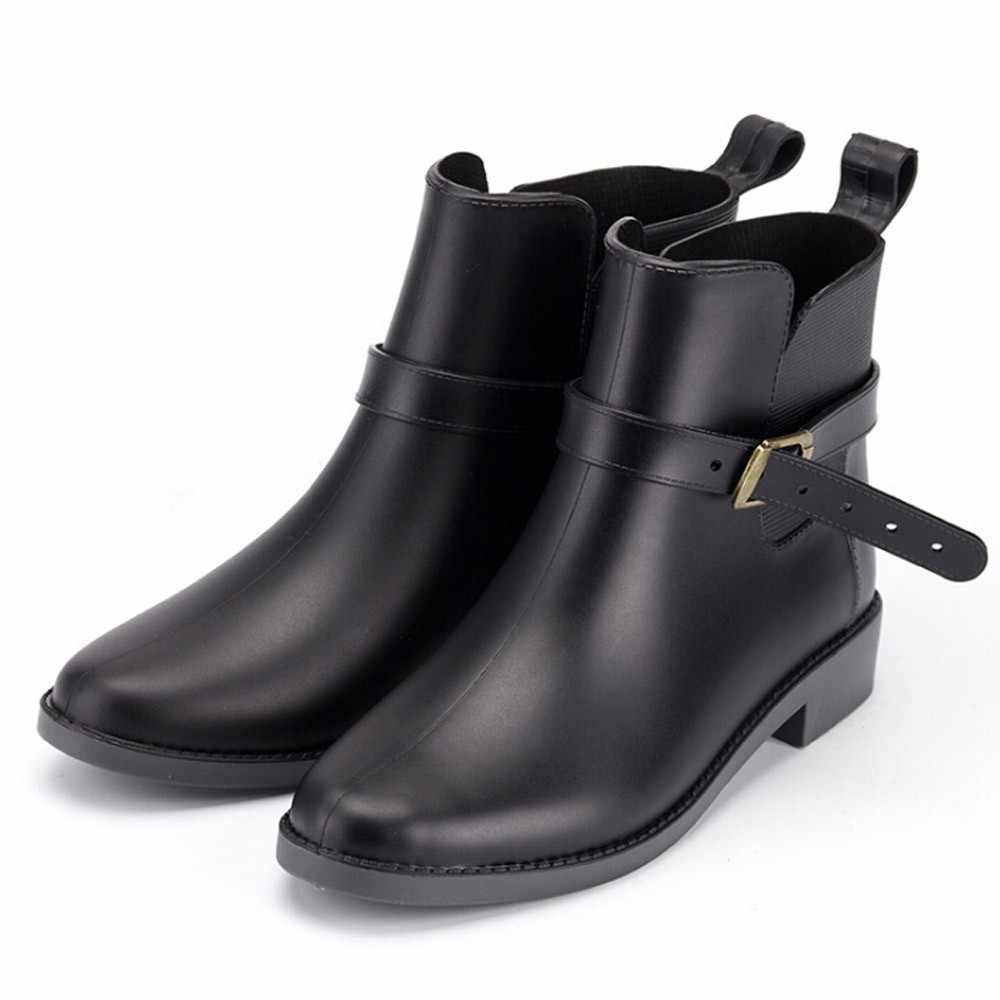 SAGACE de estilo británico mujeres Chelsea Jardín de trabajo lluvia botas de calzado Casual antideslizante botas de agua Simple estilo 2019