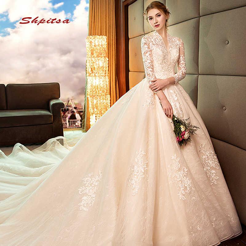 ארוך שרוול תחרה חתונה שמלת כדור שמלת חתונה בציר שמלות לנכש Weding כלה שמלות הכלה Weddingdress