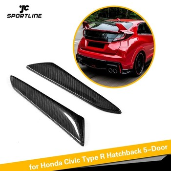 Full Carbon Fiber Rear Bumper Fins Vents Decoration Trims for Honda for Civic Type R Hatchback 4-Door 2015 2016