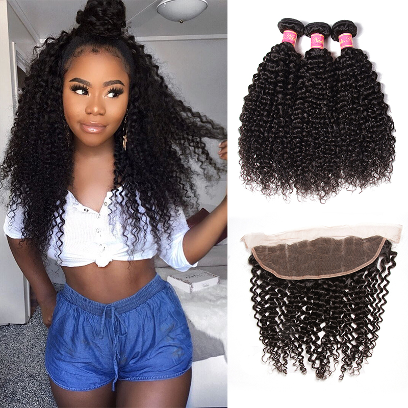 Nadula Hair Brazilian Curly Hair With Frontal Closure 100% Human Hair Bundles With Frontal 8-26inch Remy Hair Weave With Closure
