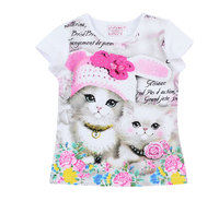 2017 Fashion Summer Domeiland Children Brand Clothing For Kids Girl Short Sleeve Print 3d Cat Cotton