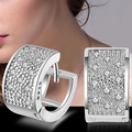 Fashion Women Crystal Silver Plated Hoop Earrings Jewelry