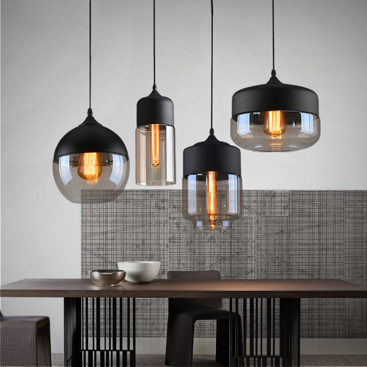 Industrial Loft Hanging Glass Pendant Light Iron+Glass Lampshade E27 Modern Pendant Lamp Fixture For Kitchen Dining Room Bar