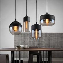 Промышленные Лофт висит Стекло подвесной светильник Утюг + Стекло абажур E27 современный подвесной светильник приспособление для Кухня Обеденная бар