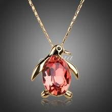 Jenia del pingüino de color oro de la manera del collar pendiente exquisito stellux de cristal austriaco colgante de la muchacha (xn024)