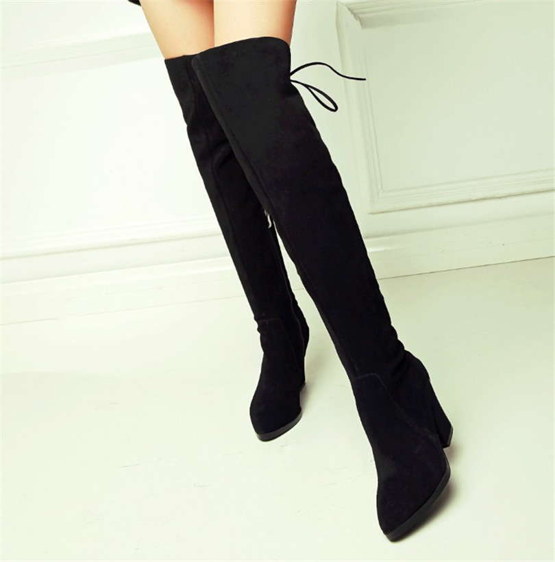 2016 new winter thick with leather straps knee length boots in Europe and America tide shoes SUB677