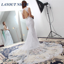Sexy Backless Mermaid Wedding Dress Vintage V-Neck Appliques Bride Princess Boho Gown 2019
