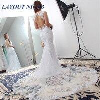 Sexy Backless Mermaid Wedding Dress Vintage V Neck Appliques Bride Dress Princess Boho Wedding Gown 2019