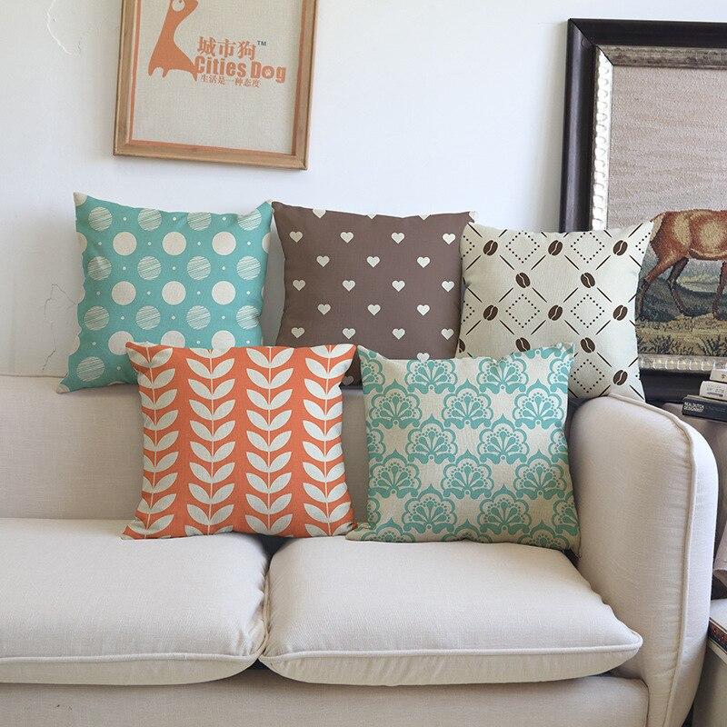 Fashion creative blue grey green geometric pattern Sofa car coffee shop hotel Home club Cushion Cover Decoration Pillowcase gift