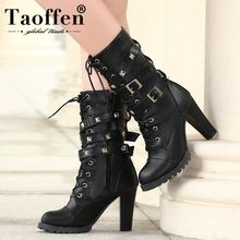 Купить с кэшбэком Ladies shoes Women boots High heels Platform Buckle Zipper Rivets Sapatos femininos Lace up Leather boots PU Fashion New