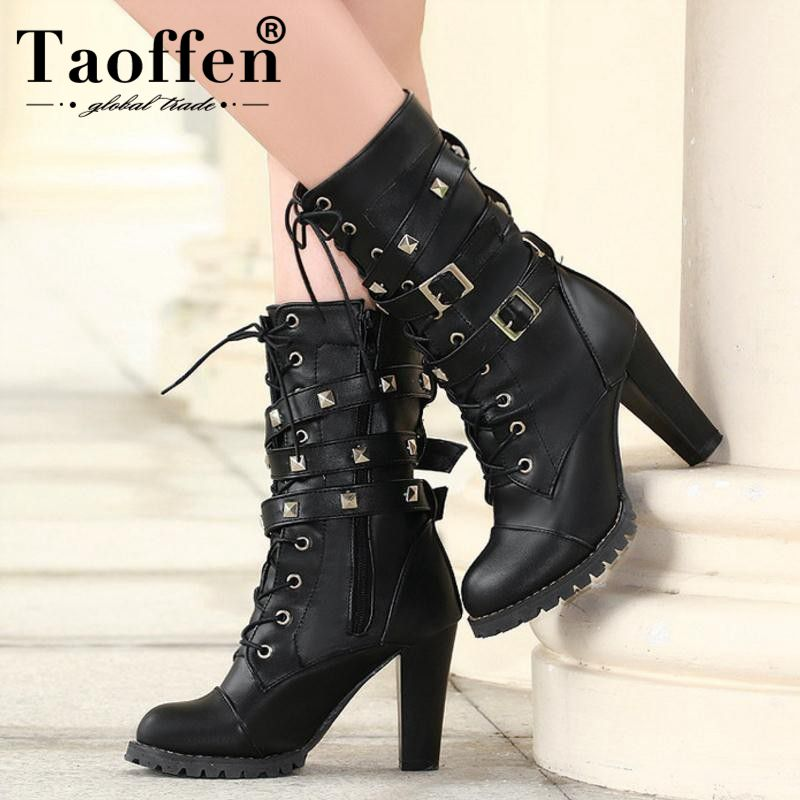 TAOFFEN Ladies shoes Women boots High heels Platform Buckle Zipper Rivets Sapatos femininos Lace up Leather boots Size 34 48
