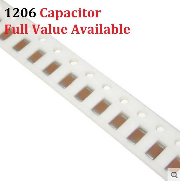 100PCS 1206 SMD Capacitor 10P 22P 33P 47P 100P 220P 330P 470P 1NF 2.2NF 50V 102 222 K/M/Z 10/22/33/47/100/220/330/470/PF/UF Kit