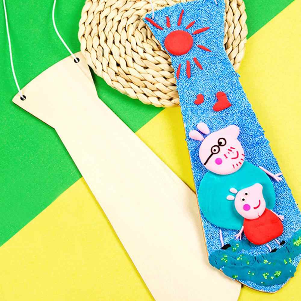 Father's Day Gift DIY Wood Tie Snow Flour Clay Hand Painted White Blank Wooden Creative Handmade Gifts
