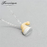 Unique Fancy Design 925 Sterling Silver Gold Christmas Hat Santa Hat Pendant Necklace Free Shipping