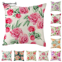 Fuwatacchi Rose Lotus Cushion Cover Flowers Painted Pillow for Home Chair Sofa Decorative Pillows Linen Throw 45*45
