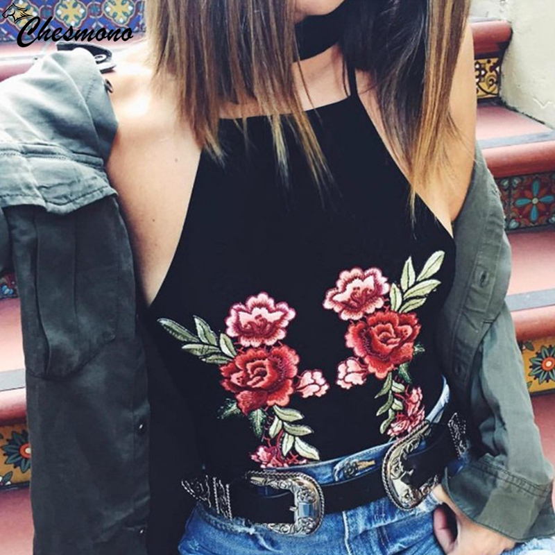 2018 Summer New Tanks Top Women 3D Flower patch in Embroidery Sexy Black Women Camis Tank Female crop Tops haut sexy pour femme