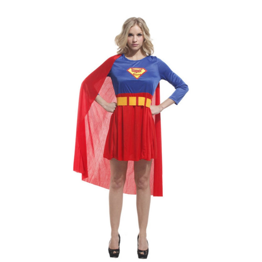 Supergirl Costume Blue and Red Dress with Cloak Superhero Costume Series Adult Womenu0027s Halloween Carnival Costume Plus Size-in Holidays Costumes from ...  sc 1 st  AliExpress.com & Supergirl Costume Blue and Red Dress with Cloak Superhero Costume ...